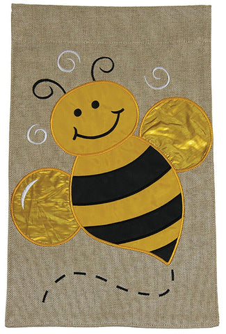 Burlap Garden Flag-Big Bee, 2 Sided. Sewn and embroidered.