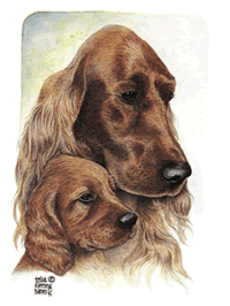 Irish Setter Mom and Pup Card artwork by Telia Fleming Hanks