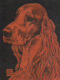 Irish Setter Head Card artwork by Telia Fleming Hanks