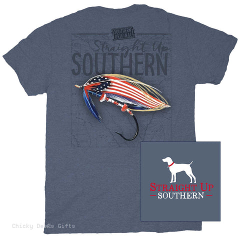 Straight Up Southern Short Sleeve Tee Red White and Bait fishing - Chicky Dee's Gifts