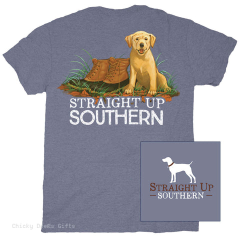 Straight Up Southern Short Sleeve Tee Barking Boots dog - Chicky Dee's Gifts