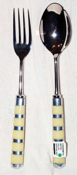Nickel Plated Brass Salad Serving Set Metro Large Fork Spoon   Clearance - Chicky Dee's Gifts - 1