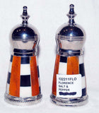 Nickel Plated Brass Salt & Pepper Set w Resin, Bone S&P Shakers FLORENCE   Clearance - Chicky Dee's Gifts - 1