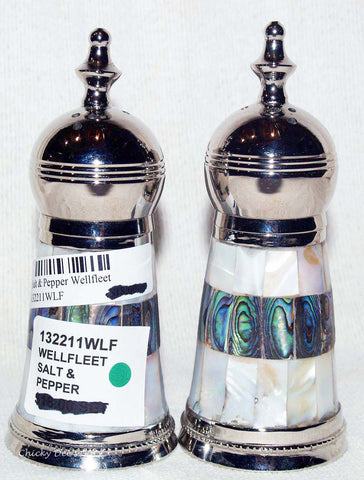 Nickel Plated Brass Salt & Pepper Set w Resin, Bone S&P Shakers WELLFLEET   Clearance - Chicky Dee's Gifts - 1