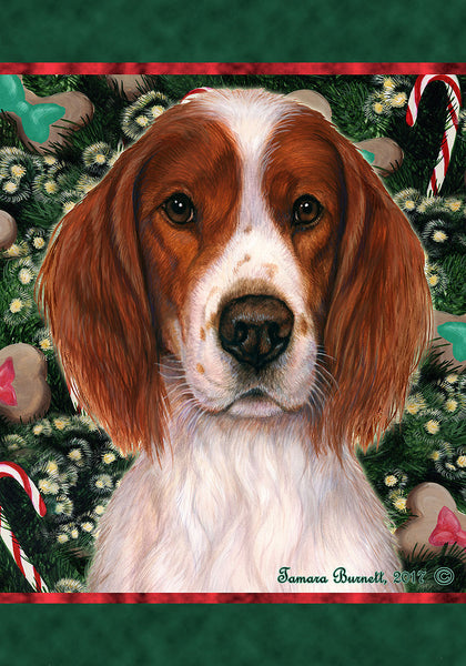 Best of Breed Garden Flag IRISH RED & WHITE SETTER Christmas Holiday Treats by Tamara Burnett