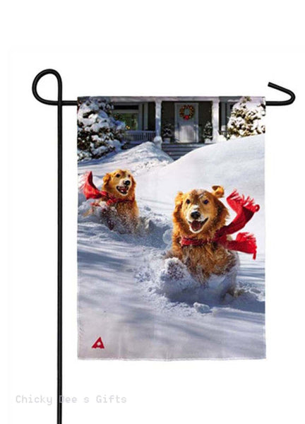 Evergreen Garden flag Dashing Through Snow dog Winter 14A3910 - Chicky Dee's Gifts