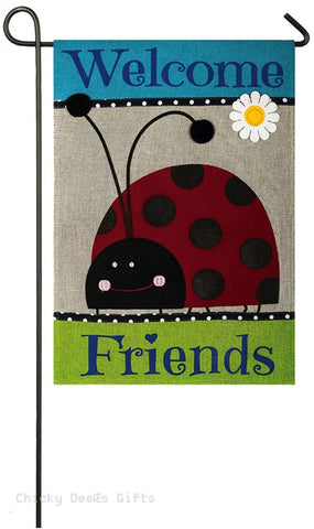 Evergreen Burlap Garden Flag Welcome Friends Ladybug 14b3723