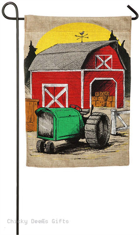 Evergreen Burlap Garden Flag Harvest Barn Tractor Autumn 14B3878 - Chicky Dee's Gifts
