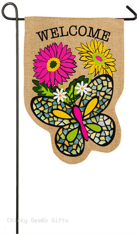 Evergreen Burlap Garden Flag Butterfly 14b4072bl