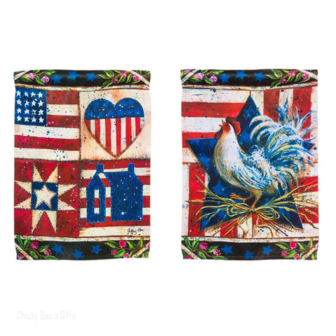 Evergreen Garden Flag American Folk Quilt Patriotic Rooster 14S2803FB - Chicky Dee's Gifts