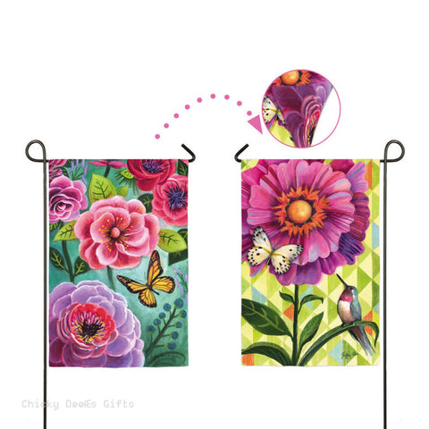 Evergreen Garden flag Flower Burst 2 different sides 14s3284fb