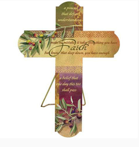 Living Victoriously Olives And Faith Cross Plaque Baptism Communion Easter NEW - Chicky Dee's Gifts