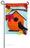 Evergreen Applique Garden Flag Pumpkin Birdhouse Autumn 168567BL - Chicky Dee's Gifts - 1