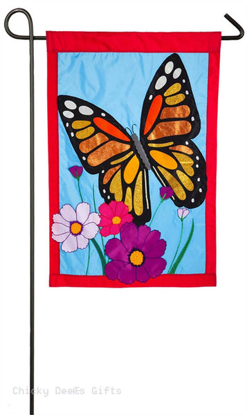 Evergreen Applique Garden Flag Butterfly Garden 168612bl
