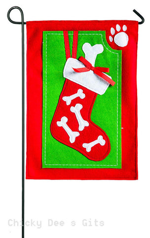 Evergreen Pet Stocking Felt Garden Flag 16f8466 Christmas dog - Chicky Dee's Gifts