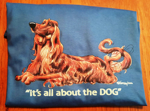 McCartney It's All About the Dog  Irish Setter Long Sleeve Tee on Denim Blue