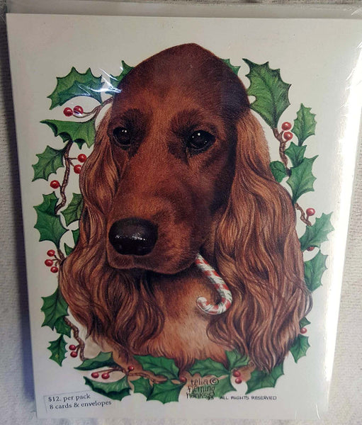 Irish Setter Candy Cane Christmas Card artwork by Telia Fleming Hanks