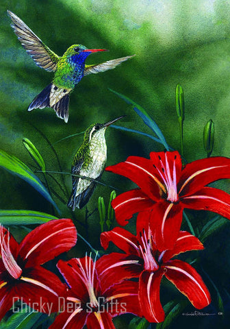 Custom Décor Garden Flag Hummingbird Pair flowers humming bird 2703FM - Chicky Dee's Gifts
