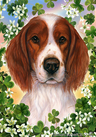 Best of Breed Garden Flag IRISH RED & WHITE SETTER St Patrick's Green by Tamara Burnett