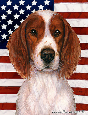 Best of Breed Garden Flag IRISH RED & WHITE SETTER Patriotic by Tamara Burnett