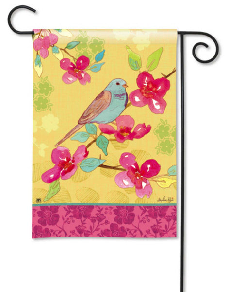 BreezeArt Garden Flag Spring Song Bird Pink Flowers 33305 - Chicky Dee's Gifts