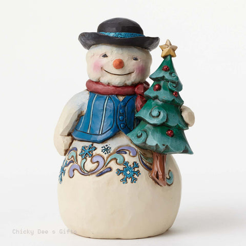 Jim Shore Winter Wonderland Pint Sized Snowman with Tree 4047663 - Chicky Dee's Gifts - 1