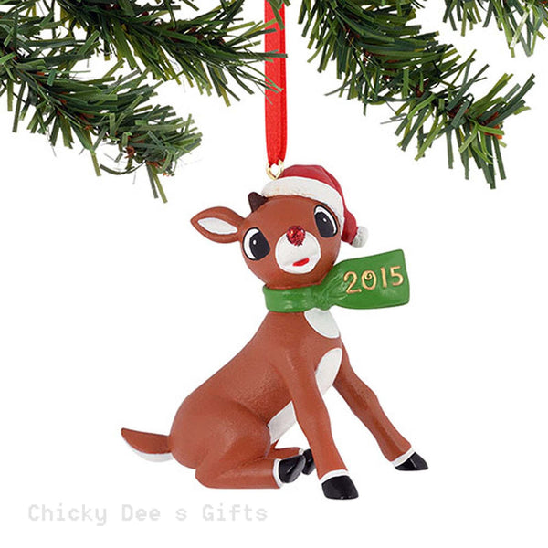 Rudolph Red Nose Reindeer Rudolph Dated Scarf 2015 Ornament 4050249   2015 - Chicky Dee's Gifts