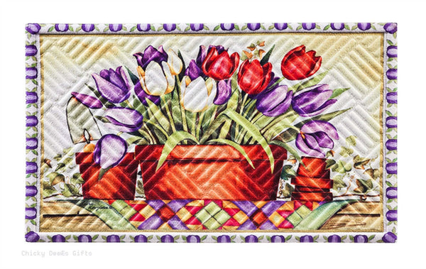 Evergreen Embossed Door Mat  Tulip Basket  41EM2222