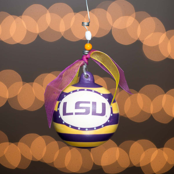 Louisiana State University LSU Tigers  Glory Haus Stripe Christmas Ornament - Chicky Dee's Gifts