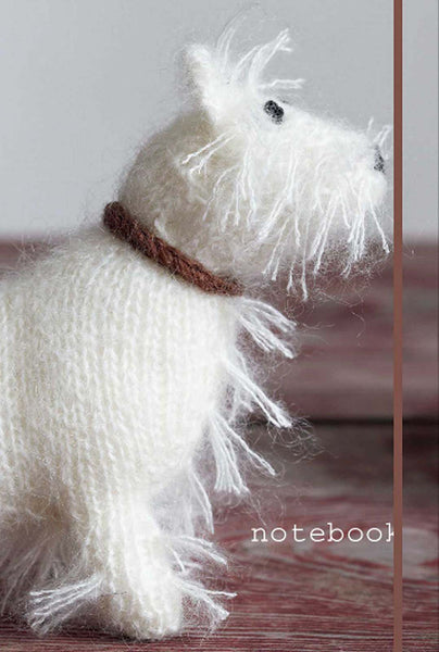 White Terrier Notebook Best in Show Knitted Dog Journal   Clearance - Chicky Dee's Gifts