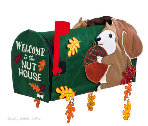 Evergreen Magnetic Mailbox Cover Welcome to the Nut House Squirrel Burlap 56576 - Chicky Dee's Gifts