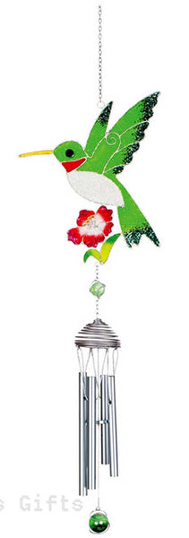 Wireworks White Shimmer Hummingbird Wind Chime bird Mother's Day - Chicky Dee's Gifts