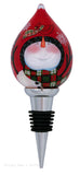 Ne'Qwa Pals in Plaid Snowman Winter Wine Bottle Stopper Hand Painted Glass - Chicky Dee's Gifts - 1