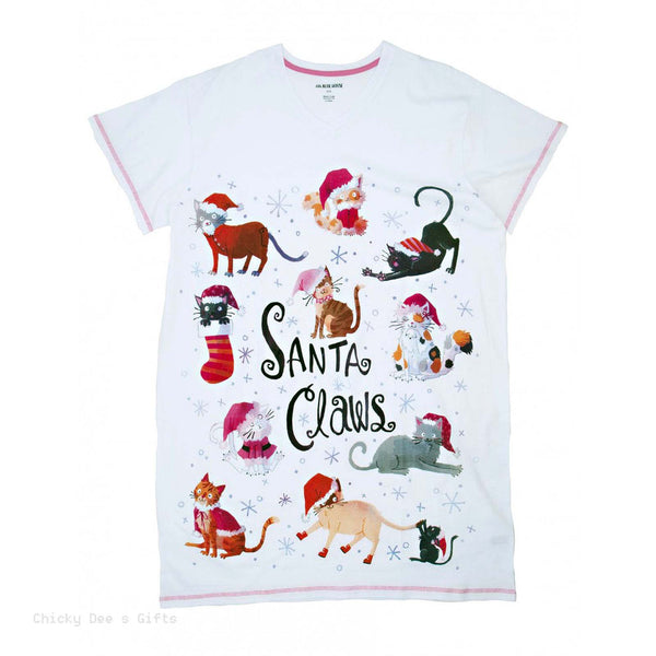 Hatley Women s ONE SIZE Sleepshirt SANTA CLAWS Night Shirt Christmas cat PJ