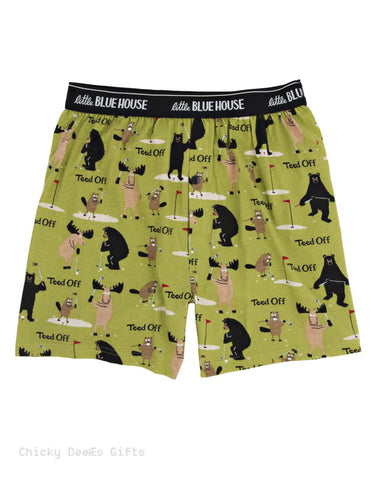 Hatley Men s Boxers Teed Off Bear Novelty Underwear Dad Golf - Chicky Dee's Gifts - 1