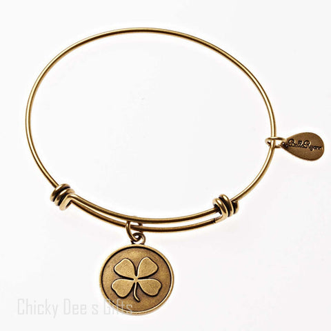 Bella Ryann Gold Expandable Bangle Charm Bracelet Four Leaf Clover Irish - Chicky Dee's Gifts