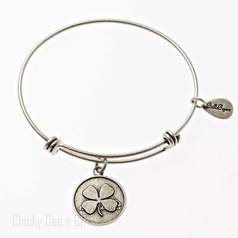Bella Ryann Silver Expandable Bangle Charm Bracelet Four Leaf Clover Irish - Chicky Dee's Gifts
