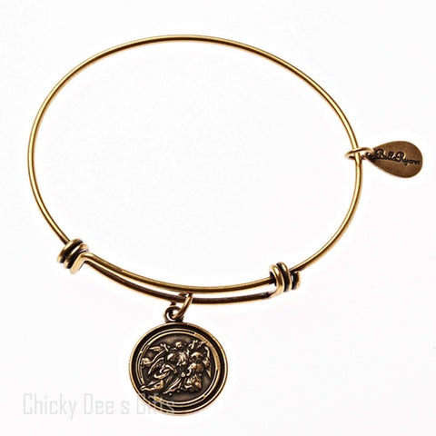 Bella Ryann Gold Expandable Bangle Charm Bracelet Guardian Angel - Chicky Dee's Gifts