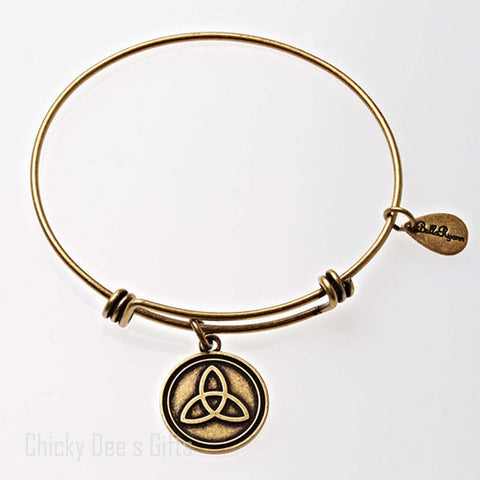 Bella Ryann Gold Expandable Bangle Charm Bracelet Trinity - Chicky Dee's Gifts
