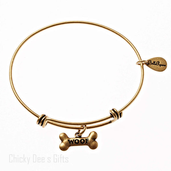 Bella Ryann Gold Expandable Bangle Charm Bracelet Woof Dog bone - Chicky Dee's Gifts