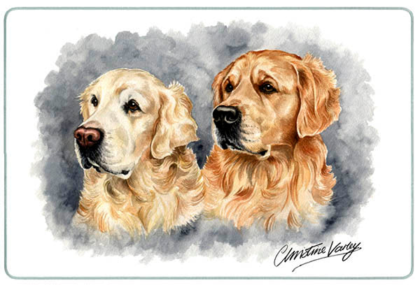 Canine Designs Golden Retriever Duo Tempered Glass Cutting Board