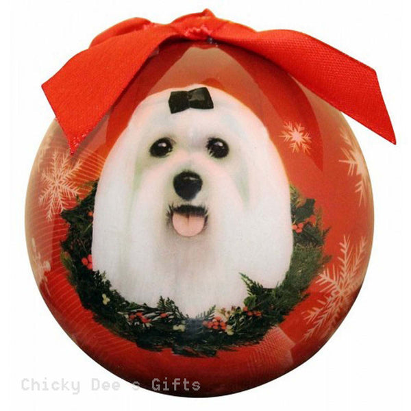 E & S Pets  Maltese  Shatter Proof Christmas Ball Ornament - Chicky Dee's Gifts