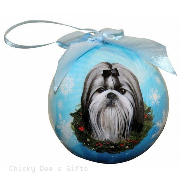 E & S Pets  Shih Tzu, Black and White   Shatter Proof Christmas Ball Ornament - Chicky Dee's Gifts