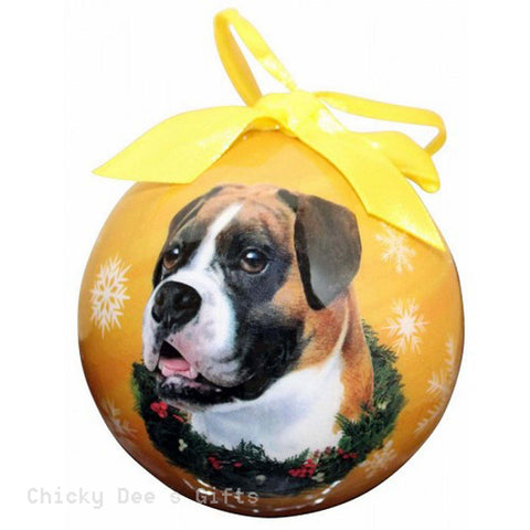 E & S Pets  Boxer, Uncropped  Shatter Proof Christmas Ball Ornament - Chicky Dee's Gifts