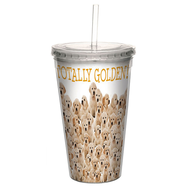 Tree-Free Greetings Golden Retrievers  16 oz Cool Cup w Straw