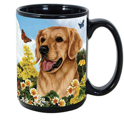 Pet Gifts USA Golden Retriever Garden Party Fun 15 oz Mug