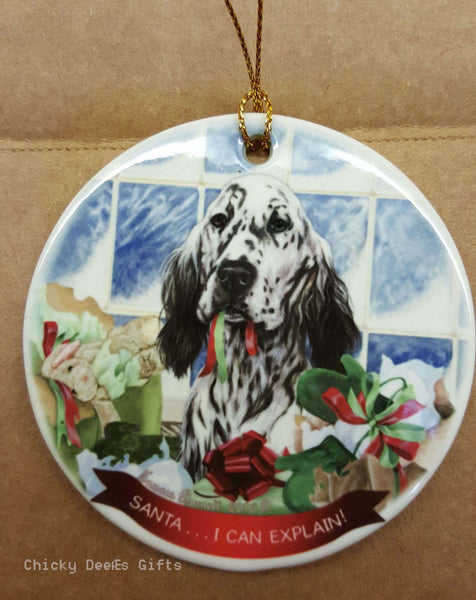 Pet Gifts USA English Setter Christmas Ornament Black & White I Can Explain - Chicky Dee's Gifts