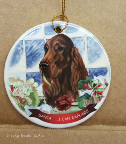 Pet Gifts USA Irish Setter Christmas Ornament   I Can Explain - Chicky Dee's Gifts
