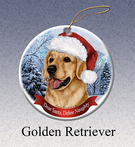 Pet Gifts USA Golden Retriever Christmas Ornament  Santa Hat Define Naughty