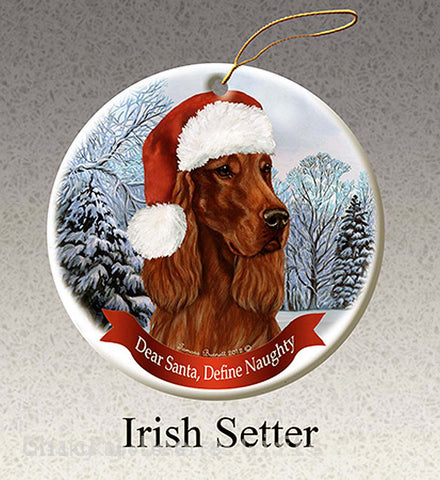 Pet Gifts USA Irish Setter Christmas Ornament  Santa Hat Define Naughty - Chicky Dee's Gifts